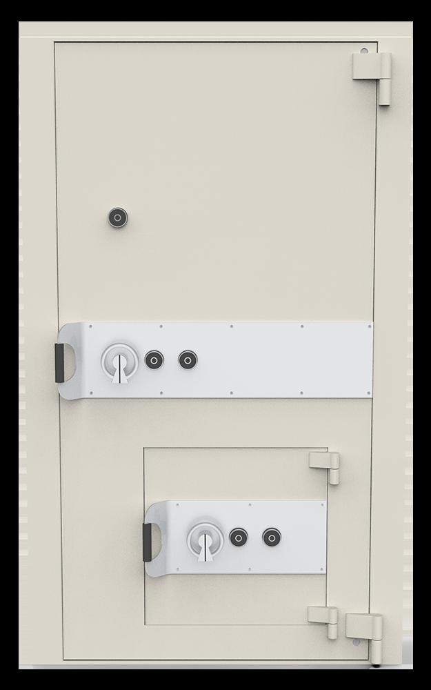 Porte forte blindée certifiée avec porte de secours intégré