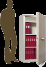 SA 210 Armoire ignifuge basse une porte pour la protection de documents papier en cas d'incendie.
